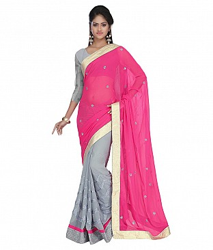 Embroidered Saree With Blouse Piece  Faux Georgette @ Rs2162.00