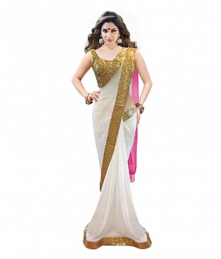 Embroidered Net Saree With Blouse Piece @ Rs2008.00