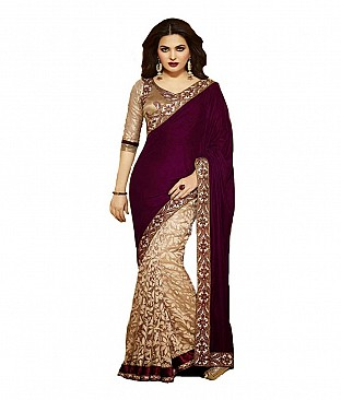 Velvet Saree With Blouse Piece @ Rs2059.00