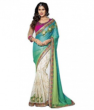 Embroidered Faux Chiffon Saree With Blouse Piece @ Rs2677.00