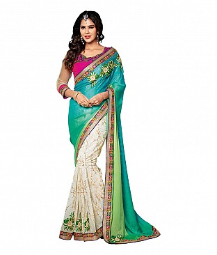 Embroidered Faux Chiffon Saree With Blouse Piece @ Rs2832.00