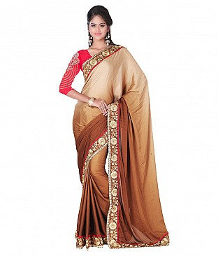 Embroidered Silk Saree With Blouse Piece @ Rs2471.00