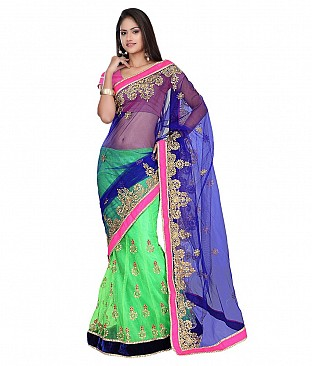 Embroidered Net Saree With Blouse Piece @ Rs2704.00