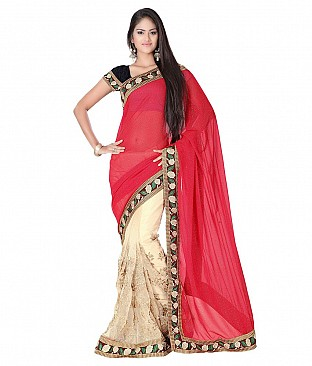 Embroidered Faux Georgette Saree With Blouse Piece @ Rs2883.00