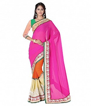 Embroidered Faux Georgette Saree With Blouse Piece @ Rs2704.00
