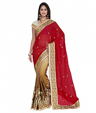 Embroidered Faux Georgette Saree With Blouse Piece @ Rs2574.00