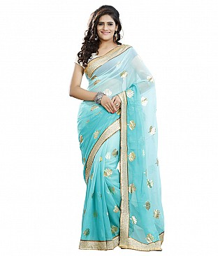 Embroidered Semi Chiffon Saree With Blouse Piece @ Rs1456.00