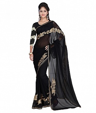 Embroidered Saree With Blouse Piece  Faux Georgette @ Rs1956.00