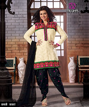 Cream Embroidered Printed Cotton Patiala Suit @ Rs788.00