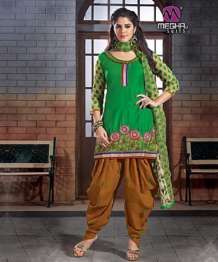 Green Embroidered Printed Cotton Patiala Suit @ Rs788.00