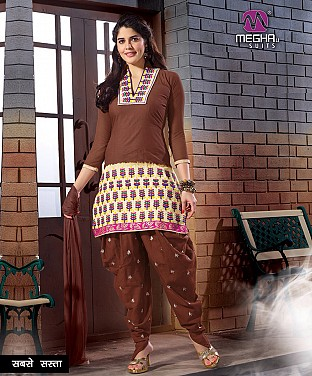 Brown Embroidered Printed Cotton Patiala Suit @ Rs788.00