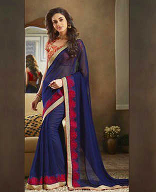 Georgette Embroidered Saree with Banglori Slik Blouse@ Rs.1803.00