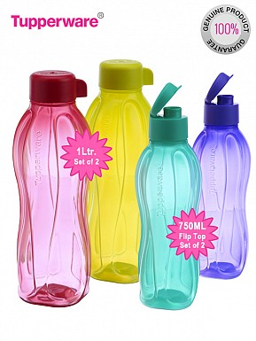 Tupperware FlipTop Water Bottle Set of 2 bottles, 750ml, Set of 2 bottles 1000ml @ Rs953.00