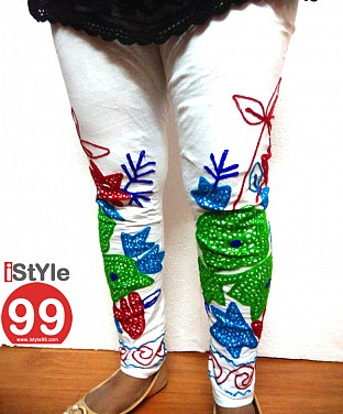 Stretchable Embroidery Cotton Legging - White@ Rs.411.00