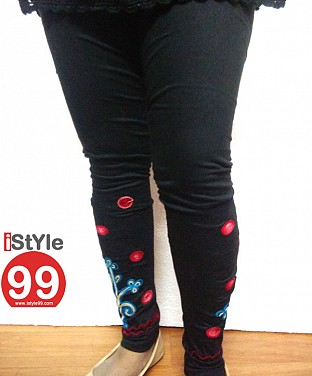 Stretchable Embroidery Cotton Legging - Black @ Rs411.00