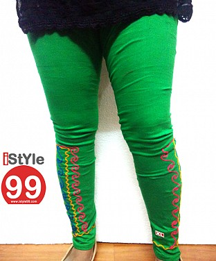Stretchable Embroidery Cotton Legging - Green @ Rs411.00
