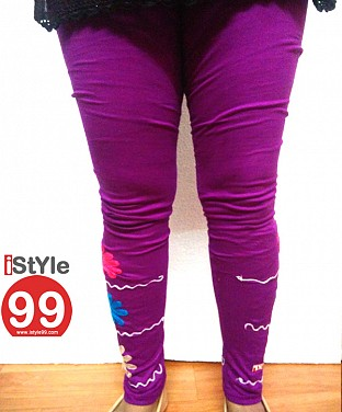 Stretchable Embroidery Cotton Legging - Violet @ Rs411.00