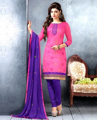 Chanderi Cotton Embroidered Salwar Suit @ Rs876.00