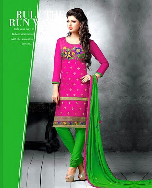 Chanderi Cotton Embroidered Salwar Suit @ Rs744.00