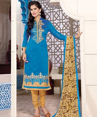 Chanderi Cotton Embroidery Salwar Kameez with Dupatta Buy Rs.629.00