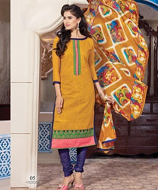 Chanderi Cotton Embroidery Salwar Kameez with Dupatta @ Rs629.00