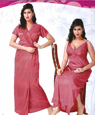 Womens Sleep Wear 2 PC Nighty on Chest Fun Bed Set@ Rs.1266.00