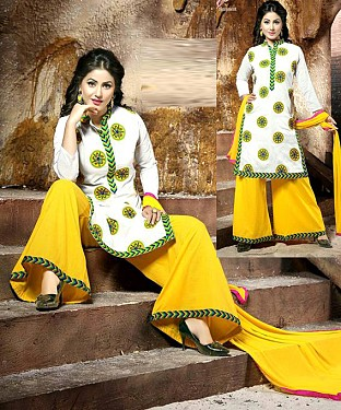 Embroidered Chanderi Cotton Salwar Suit Buy Rs.1029.00