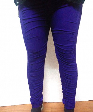 Stretchable Diamond Crushed Leggings - Purple@ Rs.411.00