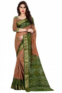 New Brown And Green Art Silk Bandhej Saree@ Rs.1101.00