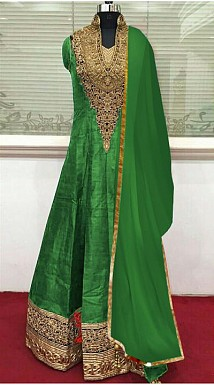Green Banglori Silk Semi Stitched Anarkali Suit @ Rs804.00