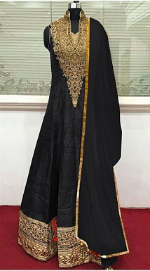 Black Banglori Silk Semi Stitched Anarkali Suit @ Rs866.00