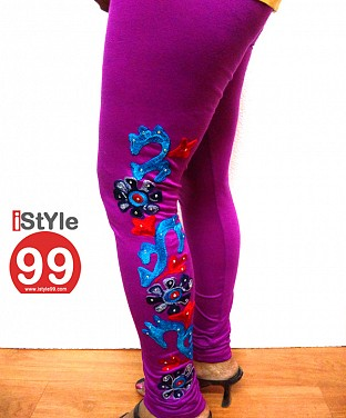 Stretchable Full Embroidery Cotton Legging - Violet @ Rs411.00