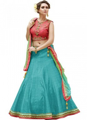 New Fancy Banglori Silk Red And Sky Lehengha Choli@ Rs.1235.00