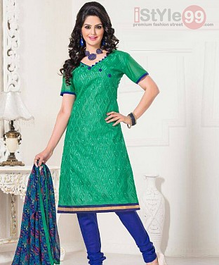 Chanderi Cotton Embroidered Salwar Suit@ Rs.629.00