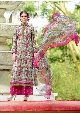 Designer unstitched Pakistani style long embroidered cotton straight suit @ Rs1175.00
