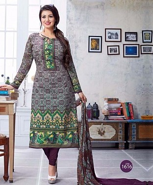 Unstitched cotton straight  suit@ Rs.1051.00