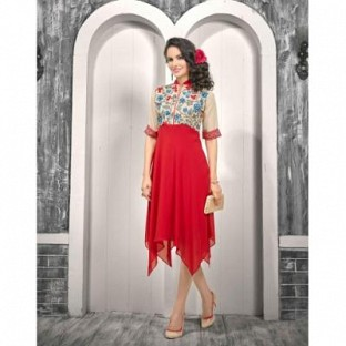 New Red & Cream Georgette Designer Western Wear @ Rs1112.00