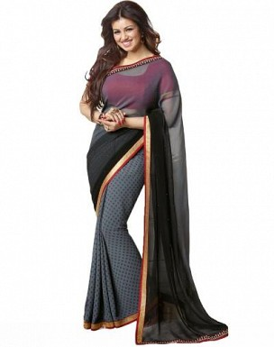 Beautiful Grey Printed,lace Work Georgette Saree @ Rs680.00