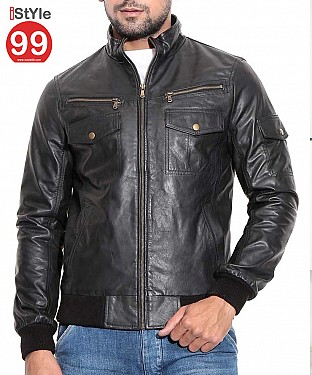 Black Mens Leather Jacket @ Rs6488.00