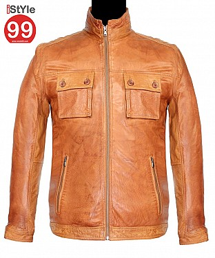 Men Tan Leather Jacket @ Rs6488.00