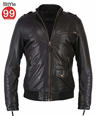 Regular Fit Real Black Leather Jacket @ Rs6900.00