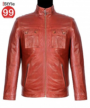 Men Leather Jacket Tan @ Rs6488.00