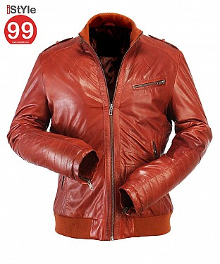 Stylish Mens Tan Leather Jacket @ Rs6900.00