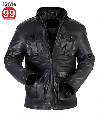 Gents Black Leather Jacket @ Rs6900.00