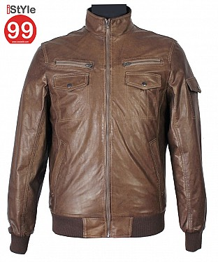 Mud Brown Leather Jacket @ Rs6488.00