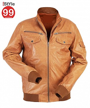 Gents Tan Leather Jacket @ Rs6900.00