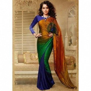 latest multi color kangna rawat style saree@ Rs.494.00