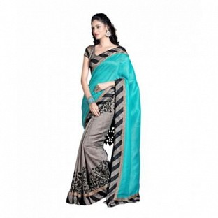 fancy style smile blue saree@ Rs.494.00