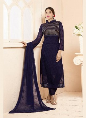 Latest Dark Blue Nazneen Chiffon Designer Dress Material @ Rs1235.00