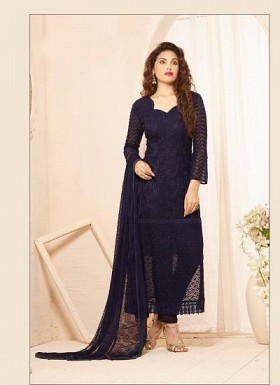 Latest Dark Blue Nazneen Chiffon Dress Material @ Rs1235.00